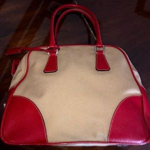 c6598bf5308d11 Prada. Authentic PRADA Beige/Red Vintage Canvas Hand Bag